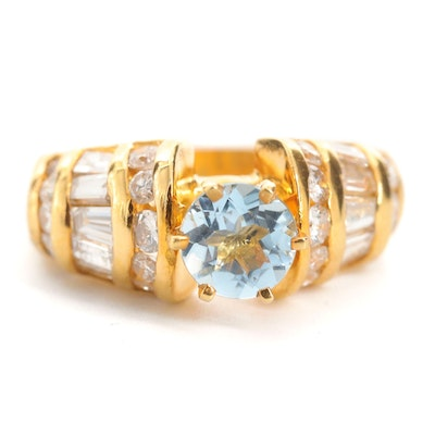 14K Yellow Gold, Aquamarine and 1.44 CTW Diamond Ring