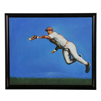 Baseball Player Acrylic Painting