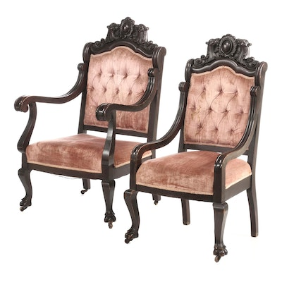 Two Renaissance Revival Carved Walnut Parlor Chairs, Third Quarter 19th Century