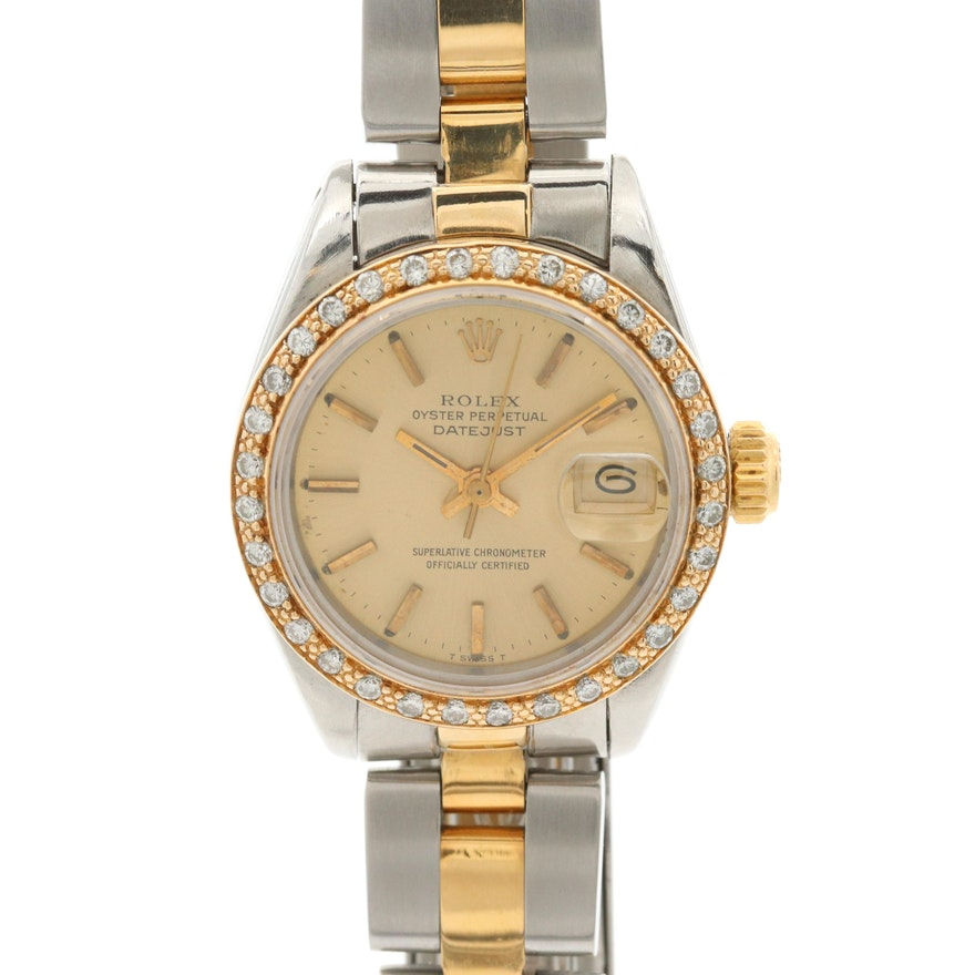Rolex Datejust 18K Gold and Stainless Steel Wristwatch With Diamond Bezel, 1980