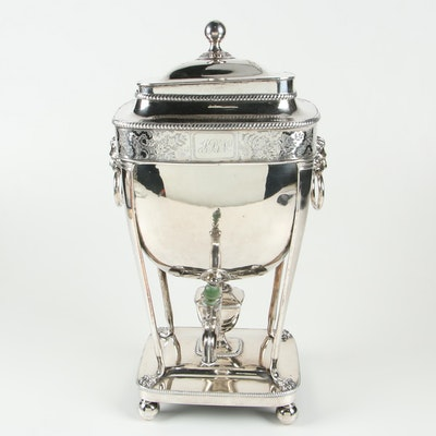 English Silver Plate Hot Water Urn, 19th Century