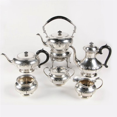 Sterling Silver Tea and Coffee Service with Kettle and Waste