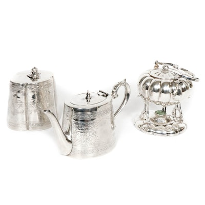 Silver Plate Tea and Coffee Pots with Sugar Bowl