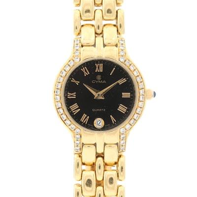 Cyma 18K Gold and Diamond Black Dial Wristwatch With Date