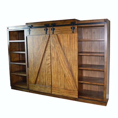"Liberty Furniture ""Lancaster II"" Barn Door Entertainment Wall Unit"