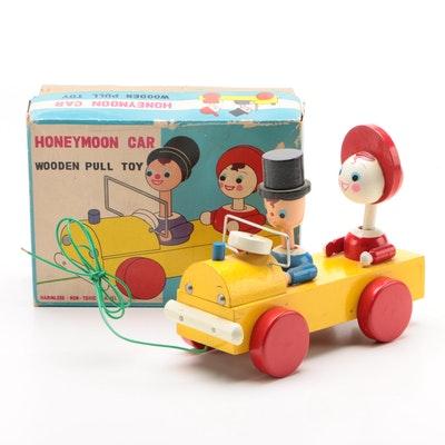 Japanese Honeymoon Car Wooden Pull Toy in Original Box, Circa 1960s