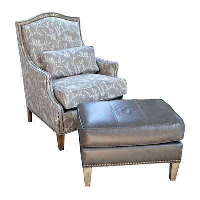 """Fairfield """"Prescott"""" Nailhead Accented Lounge Chair and Other Leather Ottoman"""