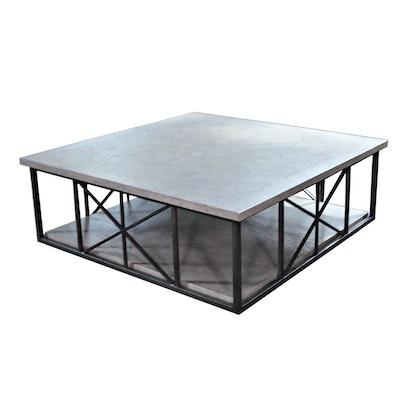 Transitional Wood and Metal Cocktail Table on Casters