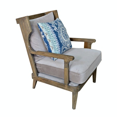 """Lennon"" Weathered Wood Cushioned Armchair, Contemporary"
