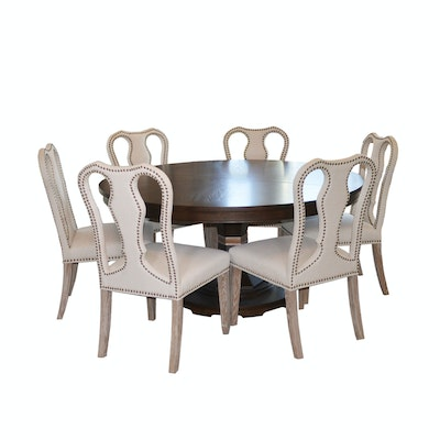 Walnut Stained Pedestal Dining Table and Orient Express Chairs, Contemporary