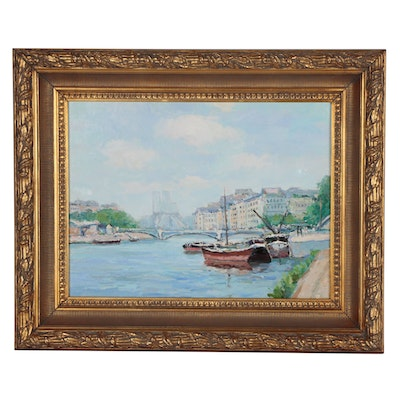 European Canal Scene Oil Painting