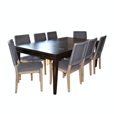 Universal Furniture Walnut Stained Wood Dining Table and Eight Chairs