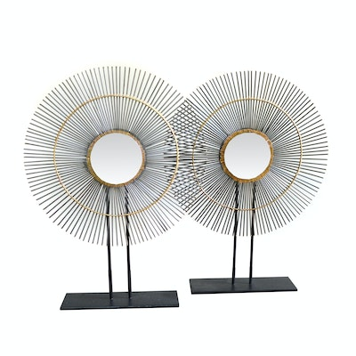 Sunburst Metal Sculpture on Tabletop Stand, Pair