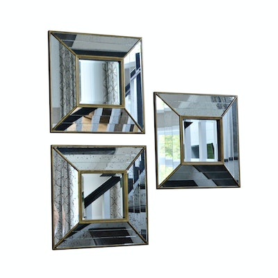 Three Hands Beveled Accent Wall Mirrors, Set of Three