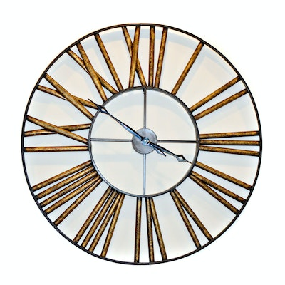 Mottled Finish Metal Wall Clock, Contemporary
