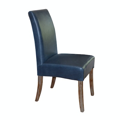 New Pacific Direct Blue Leather Parsons Chair, Contemporary
