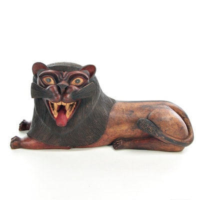 Southeast Asian Style Carved Wood Guardian Lion Sculpture