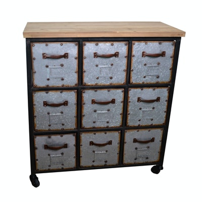Galvanized Nine-Drawer Storage Cabinet, Contemporary