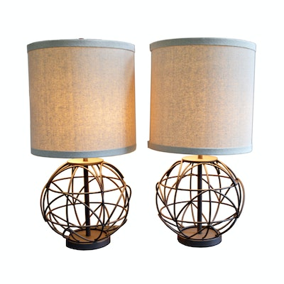 Pair of Wire Sphere Table Lamps, Contemporary