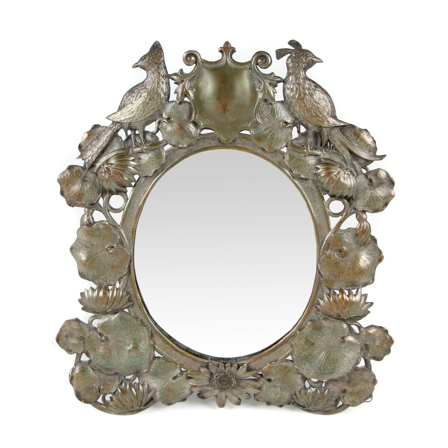 Continental Art Nouveau Silver Plate Tabletop Mirror, Late 19th/ Early 20th C.