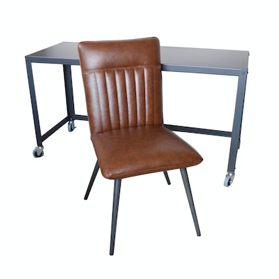 Contemporary Metal Desk with Faux Leather Desk Chair