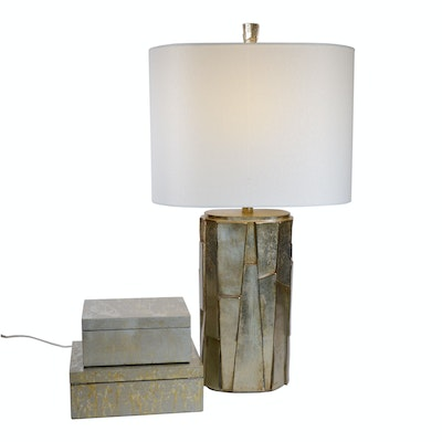 Contemporary Painted Finish Table Lamp and Mottled Trinket Boxes