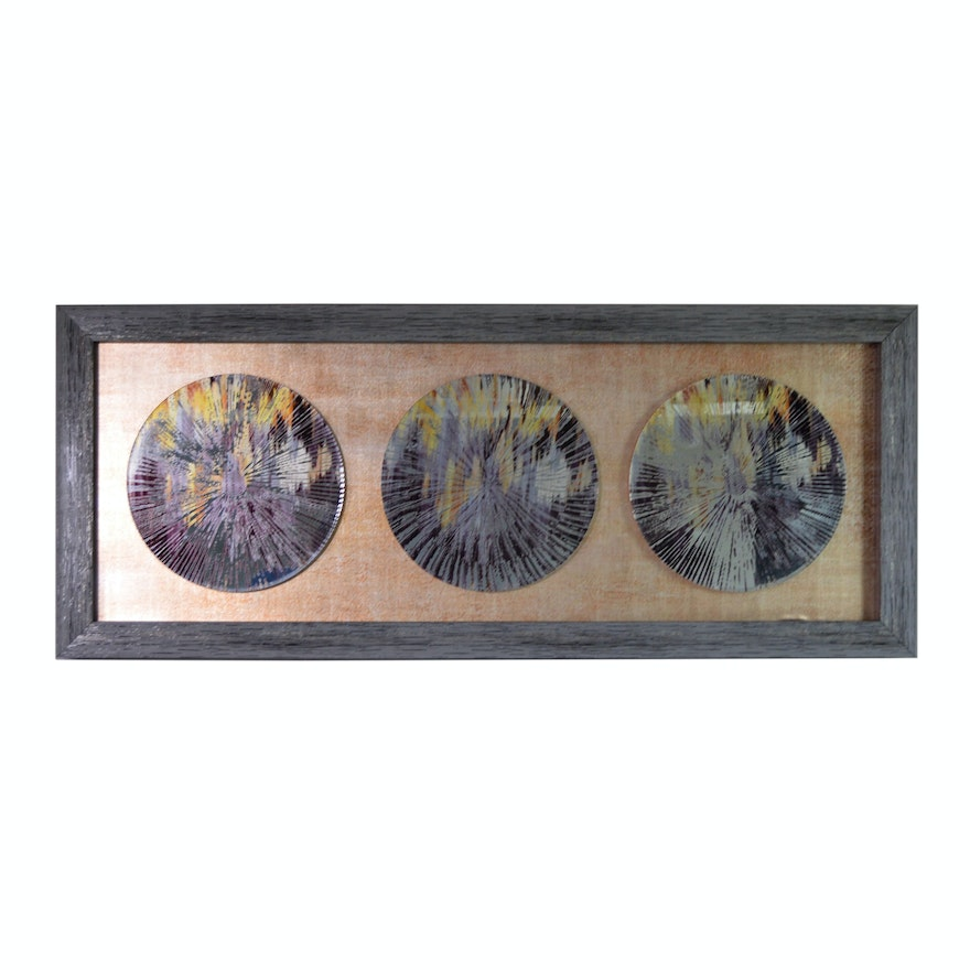 Contemporary Painted Disc Mirror Wall Decor