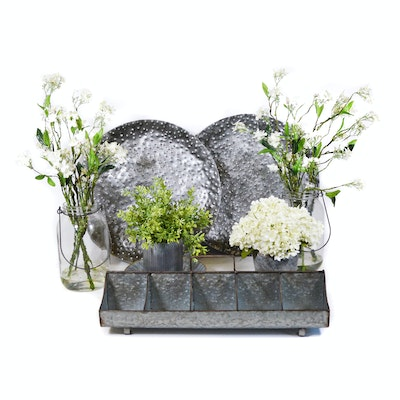 Artificial Flowers, Galvanized Vase, Divided Tray, and Other Decor
