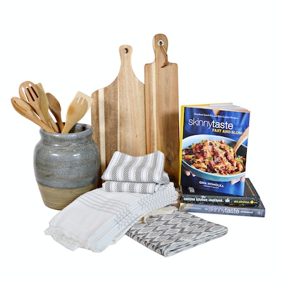 Pottery Utensil Jar, Wood Cutting Board and Other Kitchen Items
