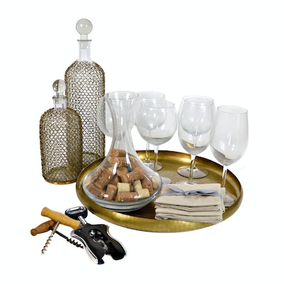 Chainmail Decanters, Glass Stemware and Brass Serving Tray