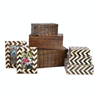 Carved Wood Nested Boxes, Chevron Nested Boxes and Picture Frames