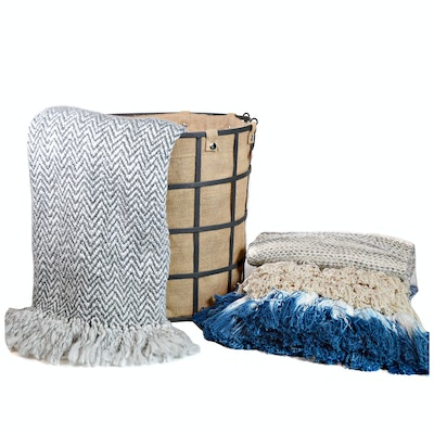 Burlap Lined Metal Basket and Three Throws