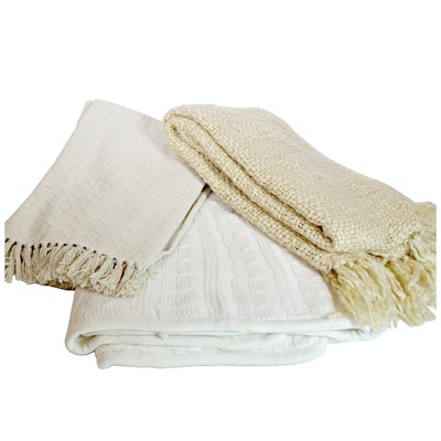 Collection of White and Cream Throws