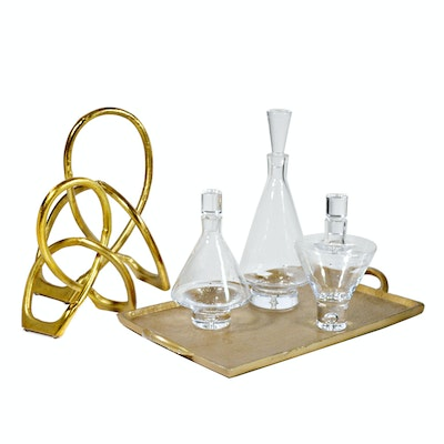 Modern Sculptural Decor and Three Contemporary Blown Glass Decanters