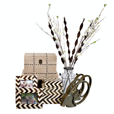 Three Hands Wood Burlap Studded Boxes, Chevron Boxes and Picture Frames and More