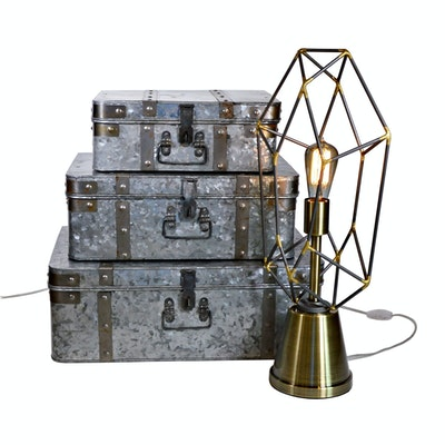 Pacific Coast Lighting Table Lamp and Galvanized Suitcase Storage