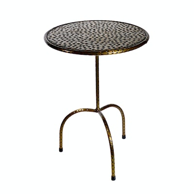 Hammered Metal Occasional Table, Contemporary