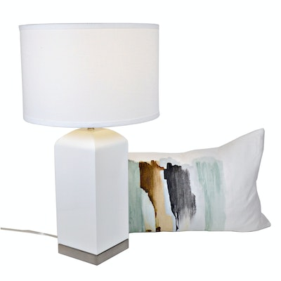 White Lacquer Table Lamp and Thom Filicia Feather Filled Pillow