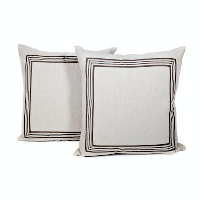 Thom Filicia Flax Ribbon Trimmed Accent Pillows