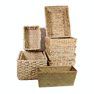 Woven Seagrass and Fiber Storage Baskets