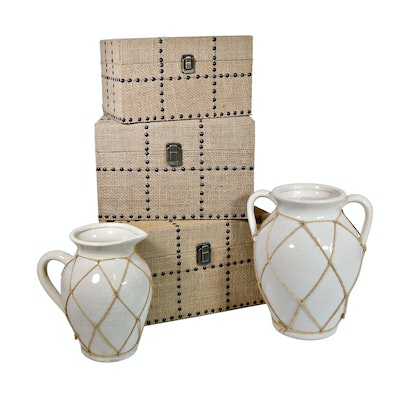 Three Hands Wood Burlap Studded Boxes and Pottery Decor