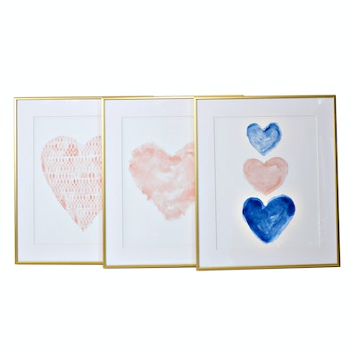 Offset Lithographs with Heart Motif