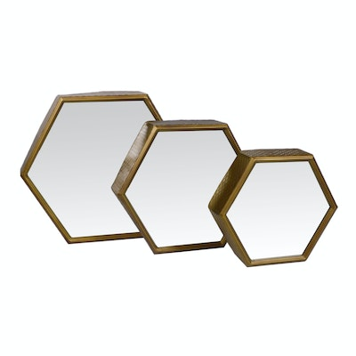 Hexagonal Metal Accent Wall Mirrors, Set of Three