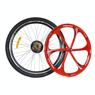 "Accrue 22"" Alloy Wheel and Wanda King 26"" Bicycle Tire Wall Decor"