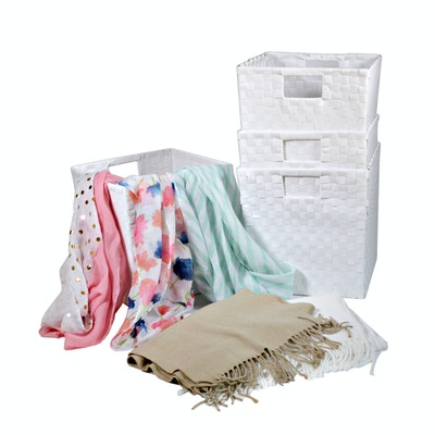 White Woven Storage Bins and Scarves
