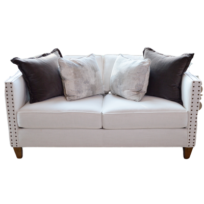 "Rowe Furniture ""Mitchell"" White Upholstered Loveseat, Contemporary"