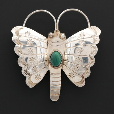 Southwestern Style Sterling Silver Malachite Butterfly Brooch