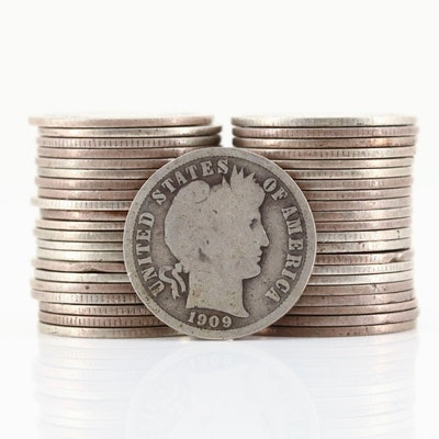Forty-Three Silver Barber Dimes