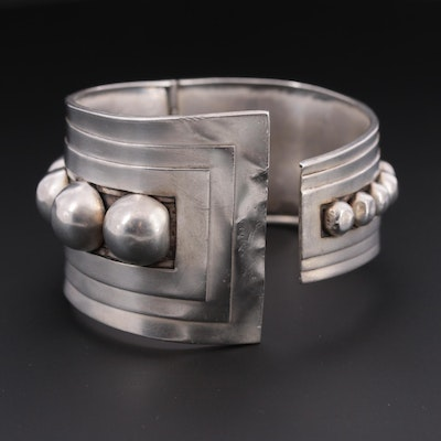 Mexican Taxco J Gomez Sterling Silver Hinged Cuff Bracelet