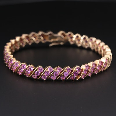Sterling Silver Synthetic Pink Sapphire Bracelet